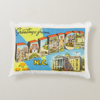 Raleigh North Carolina NC Vintage Travel Postcard- Accent Pillow
