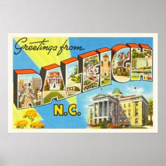 Raleigh North Carolina NC Vintage Travel Postcard- Poster