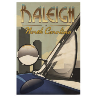 Raleigh North Carolina vintage automobile poster Wood Poster
