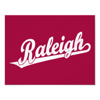 Raleigh script logo in white distressed card