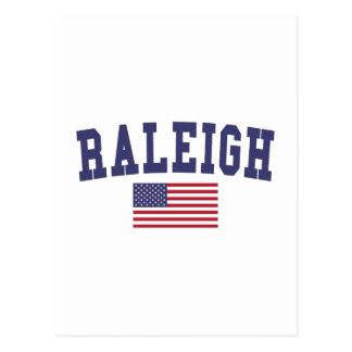 Raleigh US Flag Postcard