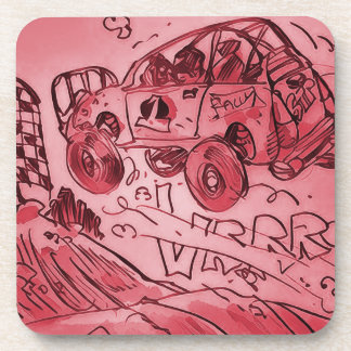 rally car flying high red beverage coaster