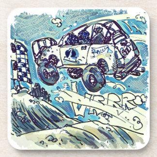 rally car is flying high cartoon drink coaster
