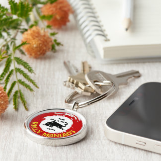 Rally Maniacs The Bull Run 2014 Silver-Colored Round Keychain
