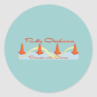 Rally Obedience, Dances with Cones Classic Round Sticker