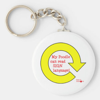 Rally poodle basic round button keychain