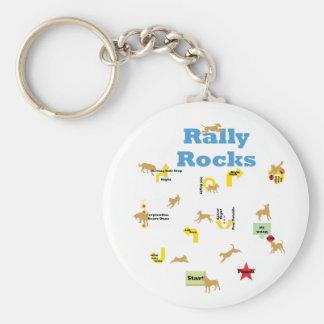 Rally Rocks Basic Round Button Keychain