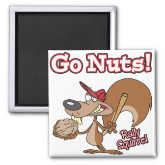rally squirrel go nuts baseball cartoon 2 inch square magnet