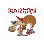 rally squirrel go nuts baseball cartoon postcard