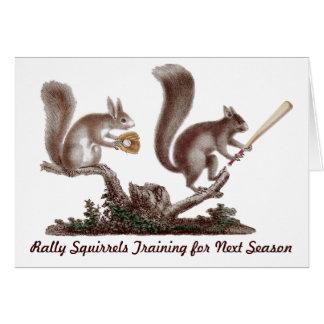 Rally Squirrels Training Funny Baseball Card