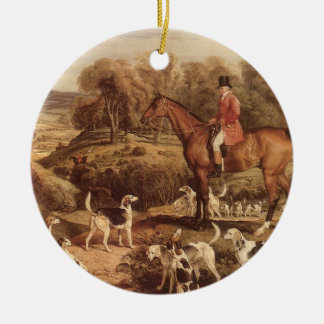 Ralph Lambton and his Hounds by James Ward Double-Sided Ceramic Round Christmas Ornament