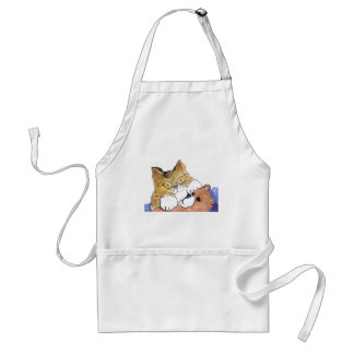 Ralph, the Cat, and his Teddy Bear Pal Adult Apron