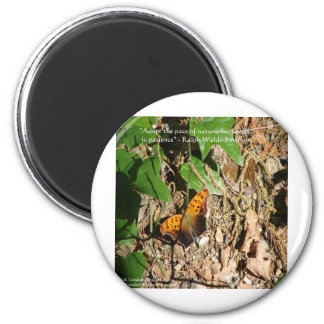"""Ralph W Emerson """"Pace Of Nature"""" Wisdom Quote Gift 2 Inch Round Magnet"""