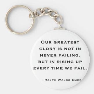Ralph Waldo Emerson - cita de la motivación Llavero Redondo Tipo Pin