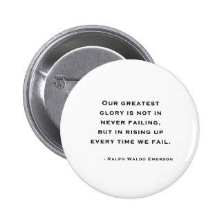 Ralph Waldo Emerson - cita de la motivación Pin Redondo De 2 Pulgadas