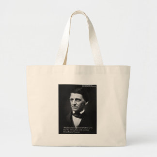"Ralph Waldo Emerson ""Common Wisdom"" Quote Gifts Large Tote Bag"