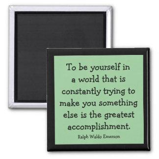 ralph waldo emerson message 2 inch square magnet