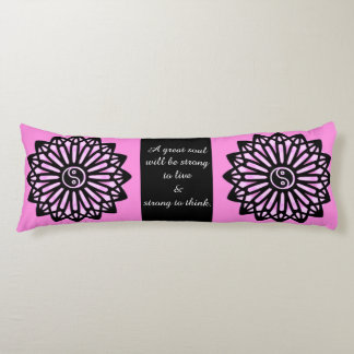 Ralph Waldo Emerson Yin Yang Quote, Pink Black Body Pillow