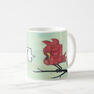 Ralphie Red Cartoon Bird Rude Yell Coffee Mug