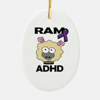 RAM ADHD Double-Sided OVAL CERAMIC CHRISTMAS ORNAMENT