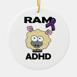 RAM ADHD Double-Sided CERAMIC ROUND CHRISTMAS ORNAMENT