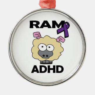 RAM ADHD ROUND METAL CHRISTMAS ORNAMENT