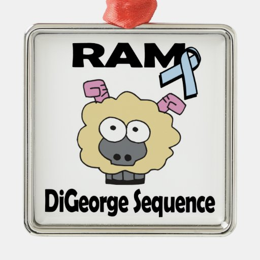 RAM DiGeorge Sequence Square Metal Christmas Ornament