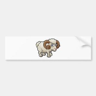 Ram Farm Animals Cartoon Character Bumper Sticker