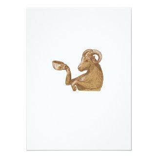 Ram Goat Drinking Coffee Drawing Card