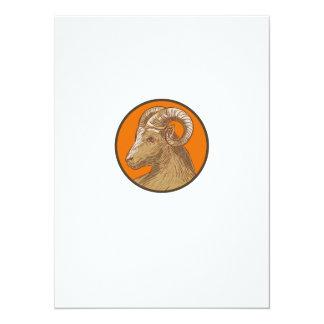 Ram Goat Head Circle Drawing Card