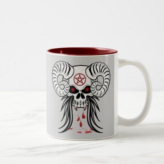 Ram Horned Skull Two-Tone Coffee Mug