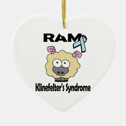 RAM Klinefelters Syndrome Double-Sided Heart Ceramic Christmas Ornament