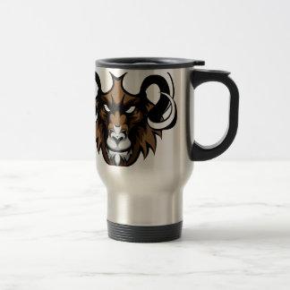 Ram Mean Animal Mascot Travel Mug