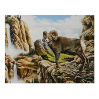 Ram Oil painting with waterfall Postcard