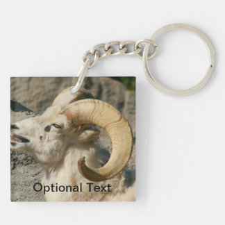Ram or Bighorn Sheep Laughing Double-Sided Square Acrylic Keychain