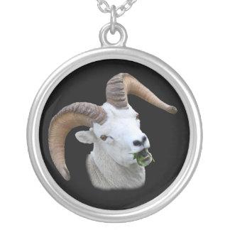 ram portrait round pendant necklace