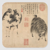 Ram Sheep Goat Year Chinese Painting Square S Square Sticker