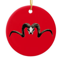 Ram skull ceramic ornament