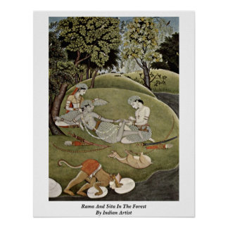 Rama And Sita In The Forest By Indian Artist Posters