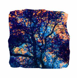 Rama azul anaranjada del extracto del roble escultura fotografica