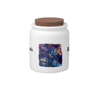 Rama azul anaranjada del extracto del roble jarras para caramelos