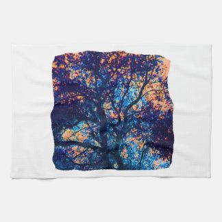 Rama azul anaranjada del extracto del roble toallas de mano