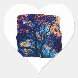 Rama azul anaranjada del extracto del roble calcomania de corazon