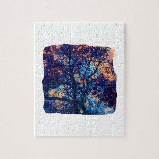 Rama azul anaranjada del extracto del roble rompecabeza