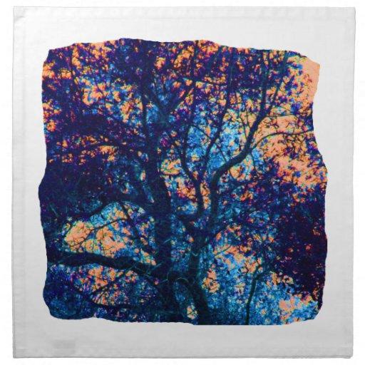 Rama azul anaranjada del extracto del roble servilletas imprimidas