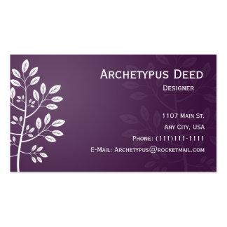 Rama blanca en tarjeta de visita púrpura