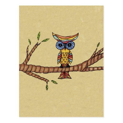 Rama colorida de lujo del búho tarjetas postales