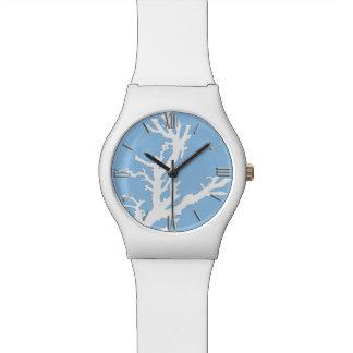 Rama coralina - blanco en azul claro relojes de pulsera