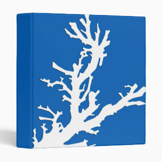 """Rama coralina - blanco en azul de cobalto carpeta 1"""""""