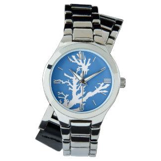 Rama coralina - blanco en azul de cobalto relojes de mano